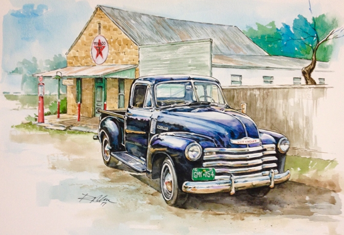 Old Chevy Pickup, Watercolor
