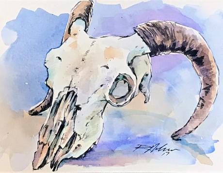 Ram Skull: Watercolor